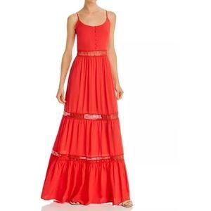 Jack by BB Dakota Coral Lace-Inset Maxi Dress